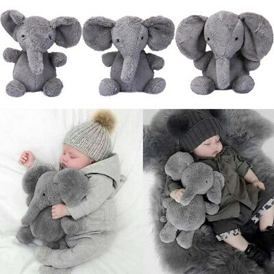 Elephant Stuffed Animal Plush Toy for Children Kids Baby Bed Grey Pillow Cushion