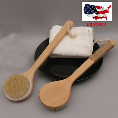 "15.7"" Exfoliating Bamboo Bath Brush Handle Back Body Shower Brush Massage Brush"