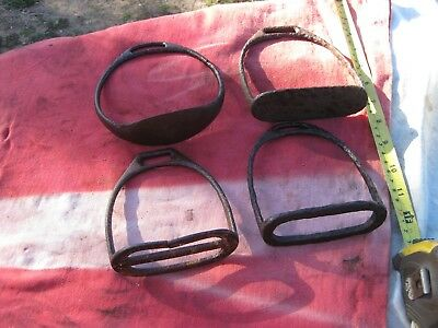 4  Old Collectible Vintage Horse Pedal Feet Stirrup Pair Wall Décor.