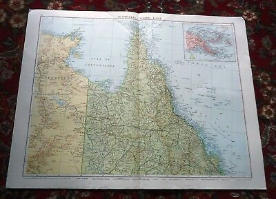 Large VICTORY Map NORTH EAST AUSTRALIA Alexander Gross & Geographical 1919/1920
