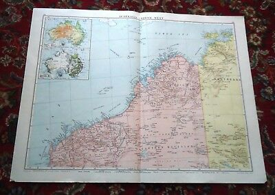 Large VICTORY Map NORTH WEST AUSTRALIA Alexander Gross & Geographical 1919/1920