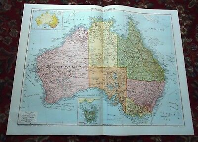 Large VICTORY Map ~AUSTRALIA Political~ Alexander Gross & Geographical 1919/1920