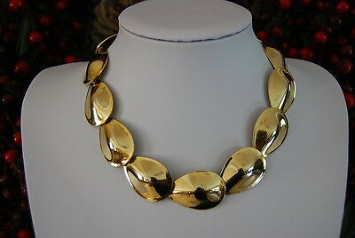 Vintage Gold Toned Metal Oval Drops Or Leaf Shape Continuous Links Necklace