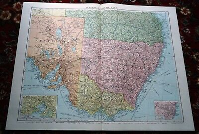 Large VICTORY Map ~ SOUTH EAST AUSTRALIA ~ Alexander Gross Geographical 1919/20