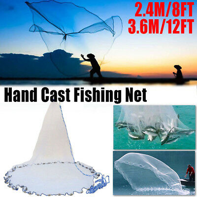 8ft-12ft Cast Net Quick Throw Mono Nylon Mesh Drawstring Chain Bottom Spread AU