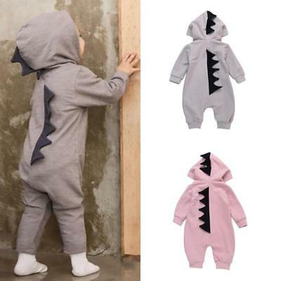 Newborn Infant Baby Boy Girl Dinosaur Hooded Romper Jumpsuit Clothes Outfit