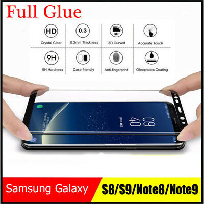 Full Glue Samsung Galaxy S9 Plus Note 8 6D Screen Protector 9H Tempered Glass Ou