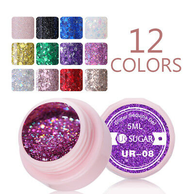 UR SUGAR 5ml UV Gel Polish Purple Pink DIY Soak Off Nail Glitter Gel Varnish