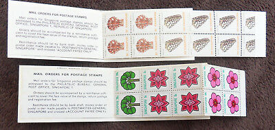Singapore 2 X Flower Seashell Complete Booklet Of Stamps Un/mm