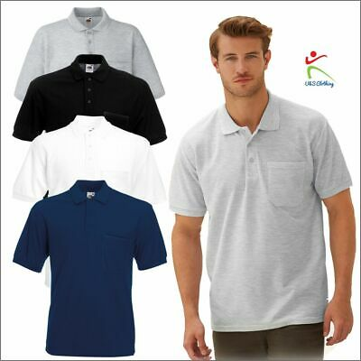 Fruit of the Loom Men's 65/35 Pocket Polo shirt Short Sleeve Casual Work Tee TOP
