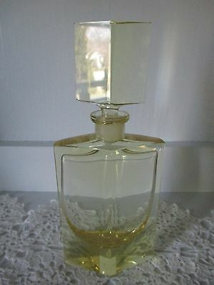 "Vtg Irice Art Deco Perfume Bottle ~Lovley Yellow Crystal Tall Beauty 8 1/4"" Tall"