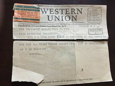 Western Union Actual Telegram from 1933 - Excellent Collectible!