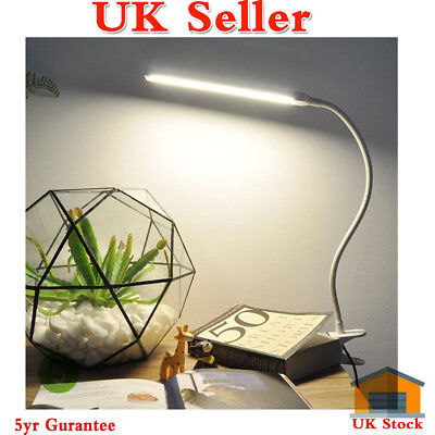 LED Nail Table Lamp Manicure Makeup Desk Bed Dimmable Mains & USB Flexible Neck