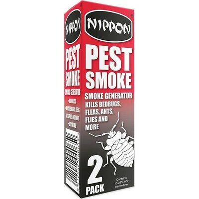 2 x NIPPON PEST SMOKE FUMIGATOR BOMB KILLS BED BUGS FLEAS ANTS FLIES VTX5NPS1