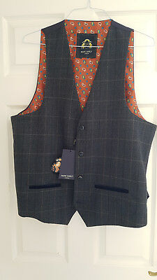 Marc Darcy LEN SCOTT - Tweed Blue Check Single Breasted Waistcoat - Size 48 R