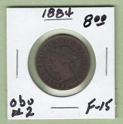 1884 Canadian One Large Cent Coin - Obverse 2 - F-15