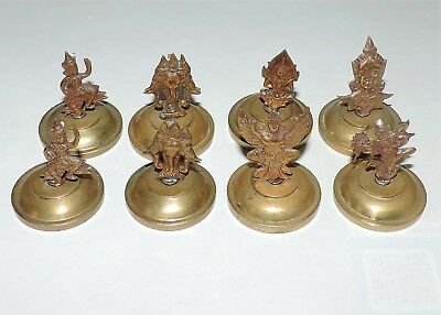 Vintage Estate 1940's Siam Set Of 8 Place Card Holders