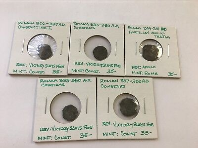 Lot Of 5 Misc. Ancient Roman Coins-D46