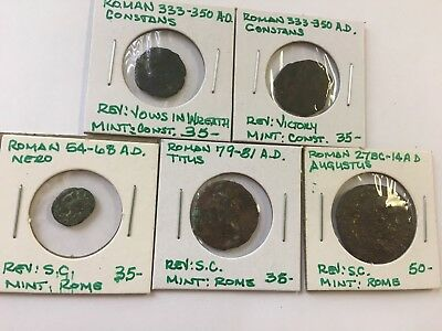 Lot Of 5 Misc. Ancient Roman Coins-D49