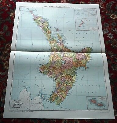 Large VICTORY Map ~ NEW ZEALAND Oceania ~ Alexander Gross Geographical 1919/20