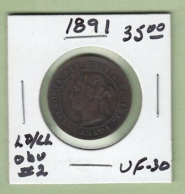 1891 Canadian One Large Cent Coin - LD/LL Obverse 2 - VF-30