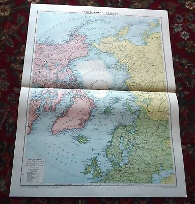 Large VICTORY Map ~ NORTH POLAR REGION #1 ~ Alexander Gross Geographical 1919/20