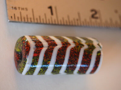 Old Vtg OR Antique Venetian Glass Trade Bead Barrel Many Layers Cylindrical