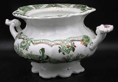 Early 19th Century Green Transfer Printed Lustre Porcelain/Bone China Sugar Bowl