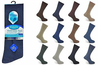 Mens 6 12 Pairs Diabetic Socks Non-Elastic Cuff Pure 100% Combed Cotton Rib Knit