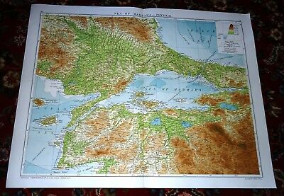 Large VICTORY Map TURKEY Sea of MARMARA Alexander Gross & Geographical 1919/20
