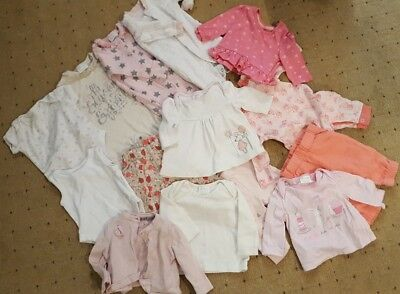 Bundle Of Baby Girls Clothes up to 1 month newborn boots sleepsuits tops