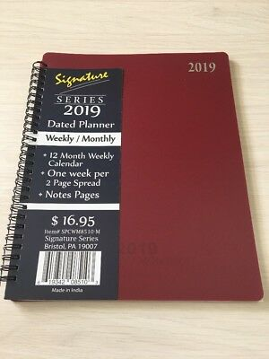 2019 Signature Dated Day Planner Calendar Appointment- Weekly Monthly BURG 8X10