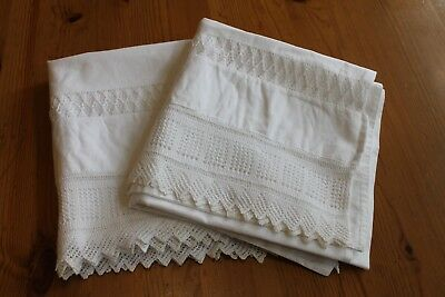 BED & BREAKFAST DOWNSIZING / Victorian Hand Knit Lace Pillowcases /Snow White A+