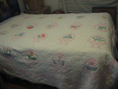 "Vintage Dated Flower Pot Quilt: 1929. All hand sewn. ""66x""78"