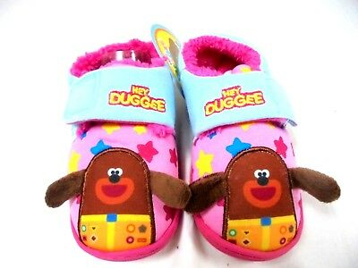 *Sale*  Girls New Official Hey Duggee Touch Fastening Warm Slippers Size 5 -10
