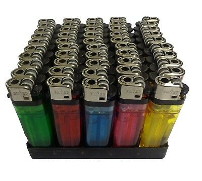 50 X Disposable Child Safe Lighters Assorted Colour Box