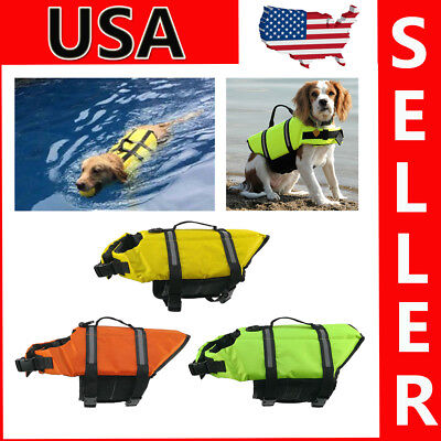 XS-XL Dog Cat Swim Saver Life Jacket Pet Aquatic Reflective Preserver Float Vest