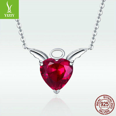 925 Sterling Silver Angel Pendant Necklace Red Gem Crystal Chain Choker Jewelry