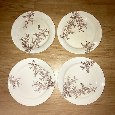 "Antique Brown Transfer Ware Dinner Plates Dinnerware Ironstone Victorian 10"" #4"