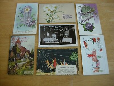 Vintage postcards-lot of 7- CHRISTMAS GREETINGS EMBOSSED HAND COLOURED..MORE #11