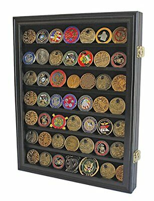 Lockable Military Challenge Coin Casino Chip Display Case Cabinet Rack Shadow