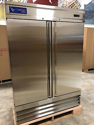 NEW CoolFront Two 2 Door Upright Commercial Stainless Steel Refrigerator 47 Cu.