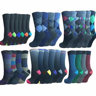 24 Pairs Of Men's Socks Assorted Colours / Designs, Size 6-11 Wholesale Job Lot