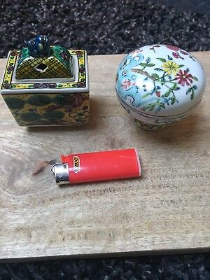 Two Chinese Hand Painted Vintage Porcelain Encence/cup