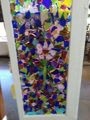 Stained Glass Window One Pane Cabinet Door Flower Design