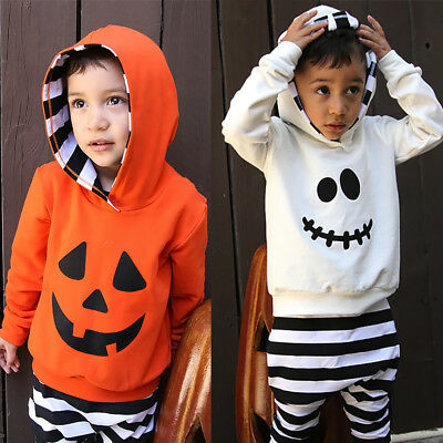 2PCS Toddler Kids Baby Boys Clothes Pumpkin Hoodie Tops + Pants Halloween Outfit