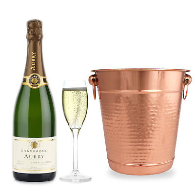 Hammered Stainless Steel Champagne Bucket - Wine Bottle Cooler Ice Bucket Copper