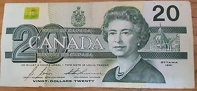 Canadian 20 dollar note twenty 1991 Canada Birds of Canada Series