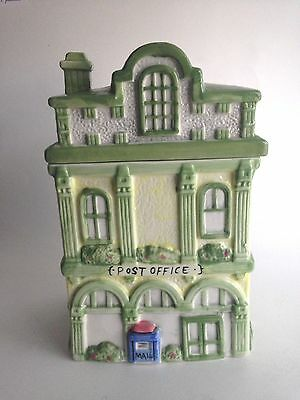 """Ceramic Post Office Hand Painted Cookie Jar Country Cottage 9.5 Tall 5.5"""" Wide"""