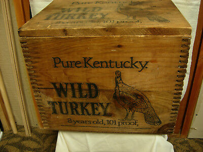 vintage wooden wild turkey crate box w/lid jointed corners